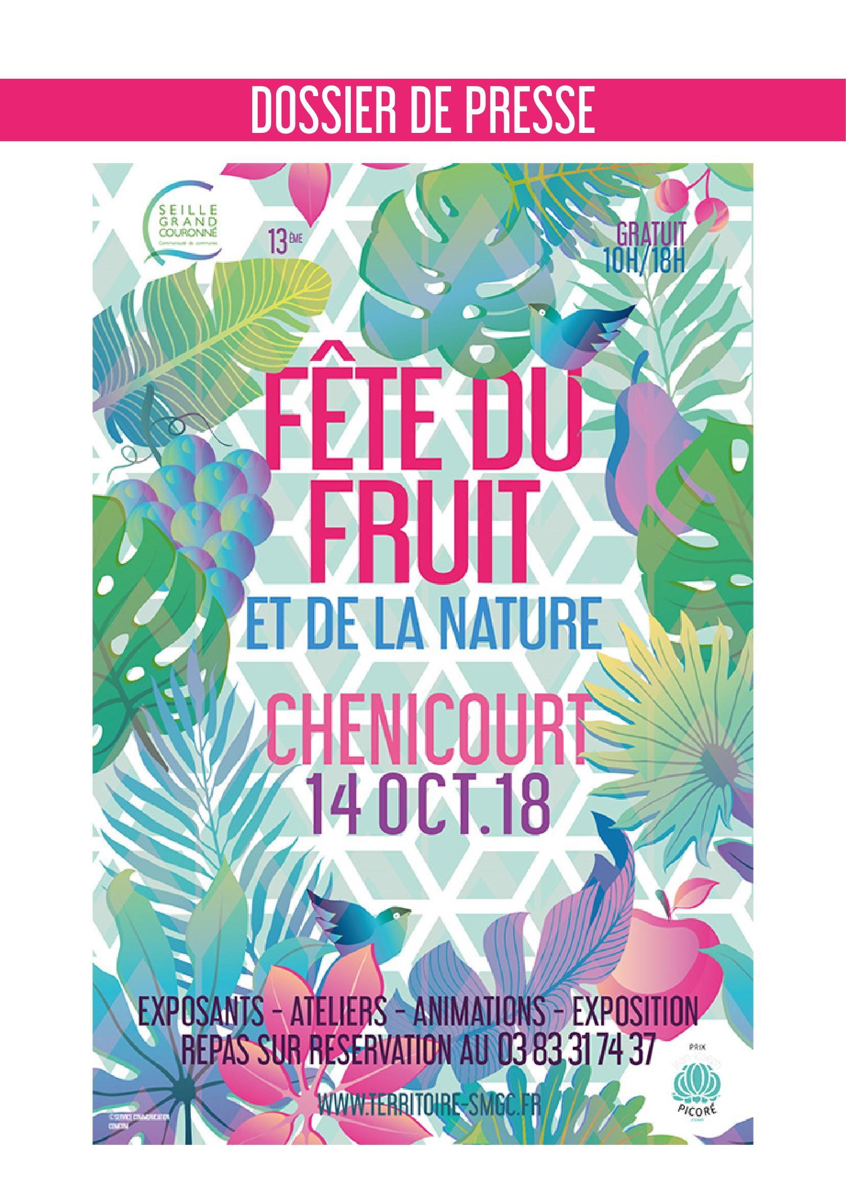 Programme Fête du Fruit 2018 à Chenicourt